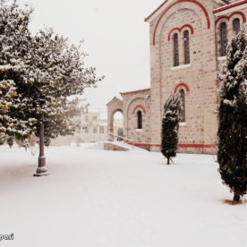 First winter snow falls in Skydra,Northern Greece.